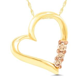 10k Yellow Gold 1/10ct Cocoa Diamond Heart Pendant