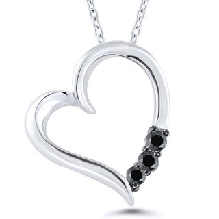 Sterling Silver 1/10ct TDW Black Diamond Heart Pendant