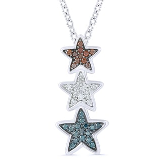 Sterling Silver Color Diamond Accent Star Pendant