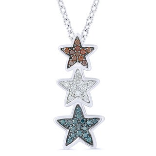 Caressa Sterling Silver Red, Blue, and White Diamond 1/6CT. T.W. Triple Star Pendant
