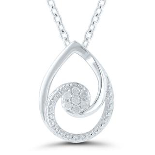 Sterling Silver Diamond Accent Tear Drop Swirl Pendant