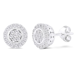 Sterling Silver 1/4ct TDW Diamond Round Button Earrings (I-J, I2-I3)
