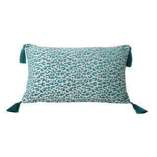Thro by Marlo Lorenz Gabriella Cheetah Feather Filled Tassle Pillow