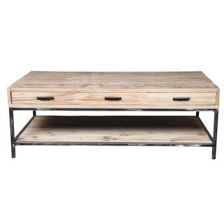 Reclaimed Pine Wood and Iron Coffee Table