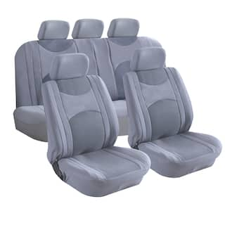 9 Piece Fabric With Mesh Seat Covers Zipper Bench Option GREY