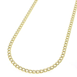 10K Gold 2.5mm Hollow Two-tone Cuban Curb Diamond-cut Pave Chain 2.5mm Necklace