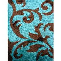 Rug Addiction Hand-tufted Polyester Turquoise and Brown Shag Area Rug - 7'6 x 10'3