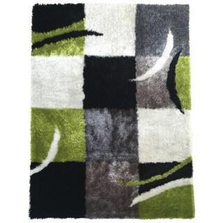 "Rug Addiction Hand-tufted Polyester Black, Gree, Grey Area Rug (7'6"" X 10'3"")"