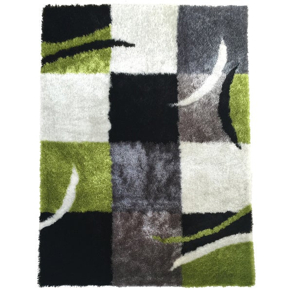 Rug Addiction Hand-tufted Polyester Black, Gree, Grey Area Rug - 7'6 x 10'3/7'6 x 10'6