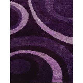 Hand-tufted Purple Shag Area Rug - 7'6 x 10'3