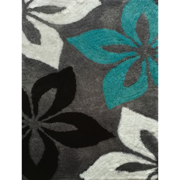 shop hand tufted turquoise and grey shag area rug 7 39 6 x 10 39 3 free shipping today. Black Bedroom Furniture Sets. Home Design Ideas