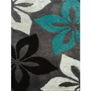 "Hand-tufted Turquoise and Grey Shag Area Rug (7'6"" X 10'3"")"