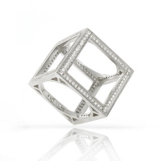 Sterling Silver Cubic Zirconia Micro Pave Box Cube Ring