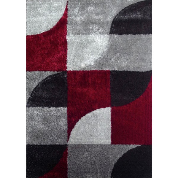 Shop Hand Tufted Polyester Red With Light Silver To Dark