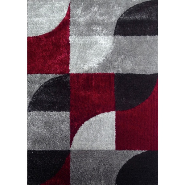 Hand Tufted Polyester Red With Light Silver To Dark Gray