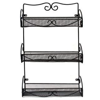 3 Tier Wall Mounted Spice Rack, Black