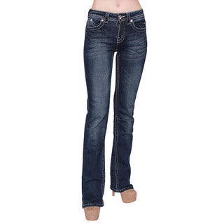 Sexy Couture Women's Dark Wash Rhinestone Stitched Boot Cut Jeans