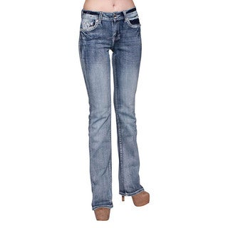Sexy Couture Women's Medium Wash Rhinestone Stitched Boot Cut Jeans