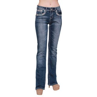 Sexy Couture Women's Dark Wash Rhinestone Stitched Boot Cut Jeans|https://ak1.ostkcdn.com/images/products/11081221/P18089221.jpg?impolicy=medium