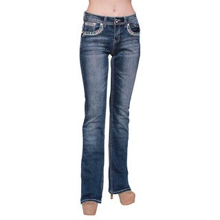 Sexy Couture Women's Dark Wash Rhinestone Stitched Boot Cut Jeans (Option: 7)