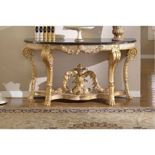 Meridian Furniture Versailles Marble Top Gold Finish Console Table