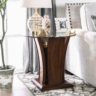Furniture of America Adrian Dark Cherry Beveled Glass Top End Table