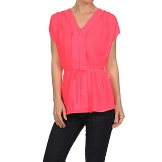 Moa Collection Women's Capped Sleeve Top with V-Neck