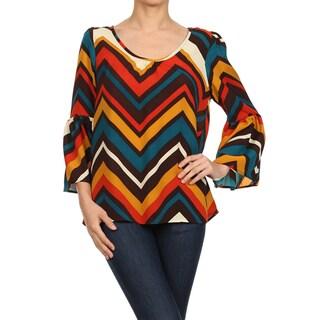 Moa Collection Women's Chevron Bell Sleeve Top