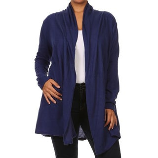 Moa Collection Women's Plus Size Solid Color Open Cardigan