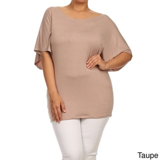 Moa Collection Plus Size Women's Dolman Sleeve Tunic Top