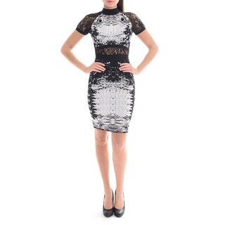 Sentimental NY Women's Bandage Dress in Abstract Print Mixed with Lace