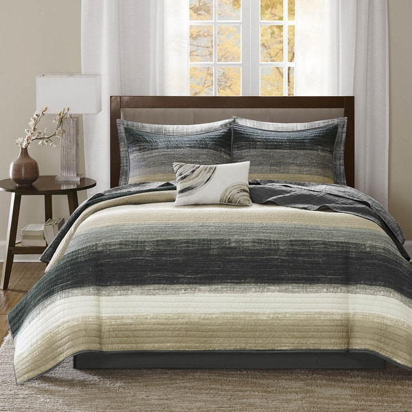 Madison Park Essentials Barret Taupe Complete Coverlet and Cotton Sheet Set