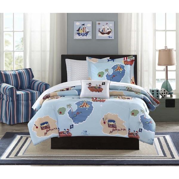 Kids & Teens At Home Pirates Boys Duvet Sets Blue Bedding Children Duvet Covers Curtains 100% Cotton