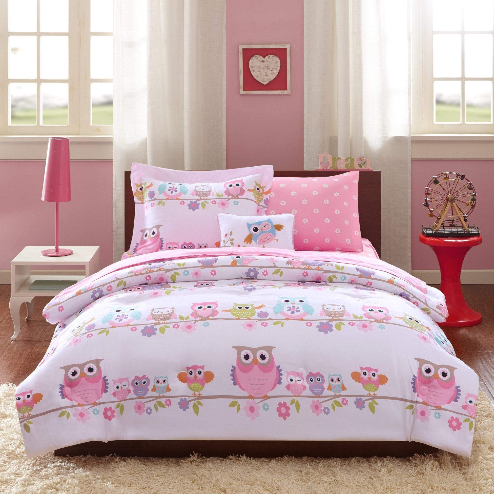 Fitted Sheet Included Cliab Owl Bedding Little Girls Twin Size Kids Bed Sheets Duvet Cover Set 5 Pieces