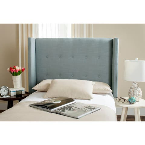 Safavieh Damon Sky Blue Upholstered Tufted Wingback Headboard (Twin)