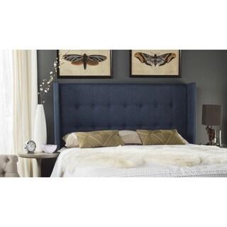 Safavieh Damon Denim Blue Upholstered Tufted Wingback Headboard (King)