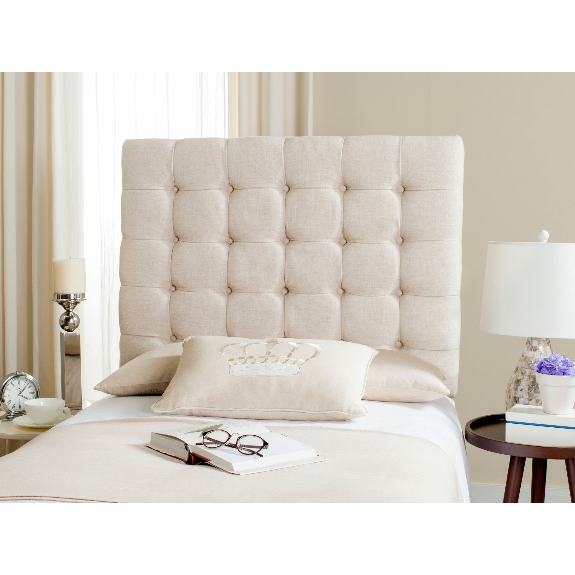 dbade1f56cded Details about Safavieh Lamar Wheat Upholstered Tufted Headboard (Twin)