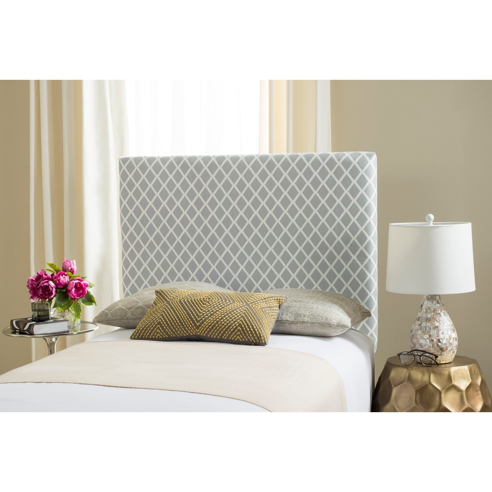 Safavieh Sydney Grey/ White Lattice Upholstered Headboard...