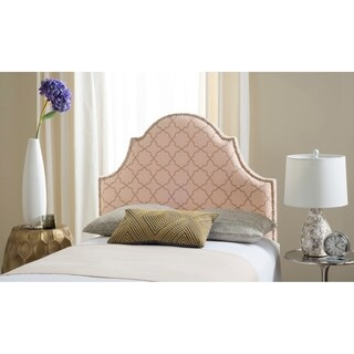 Safavieh Hallmar Pale Pink/ Beige Upholstered Arched Headboard - Silver Nailhead (Twin)