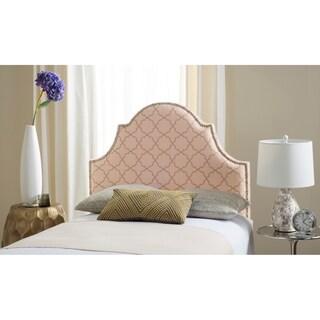 Safavieh Hallmar Pale Pink/ Beige Upholstered Arched Headboard - Silver Nailhead (Twin)