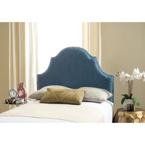 Safavieh Hallmar Denim Blue Upholstered Arched Headboard - Silver Nailhead (Twin)