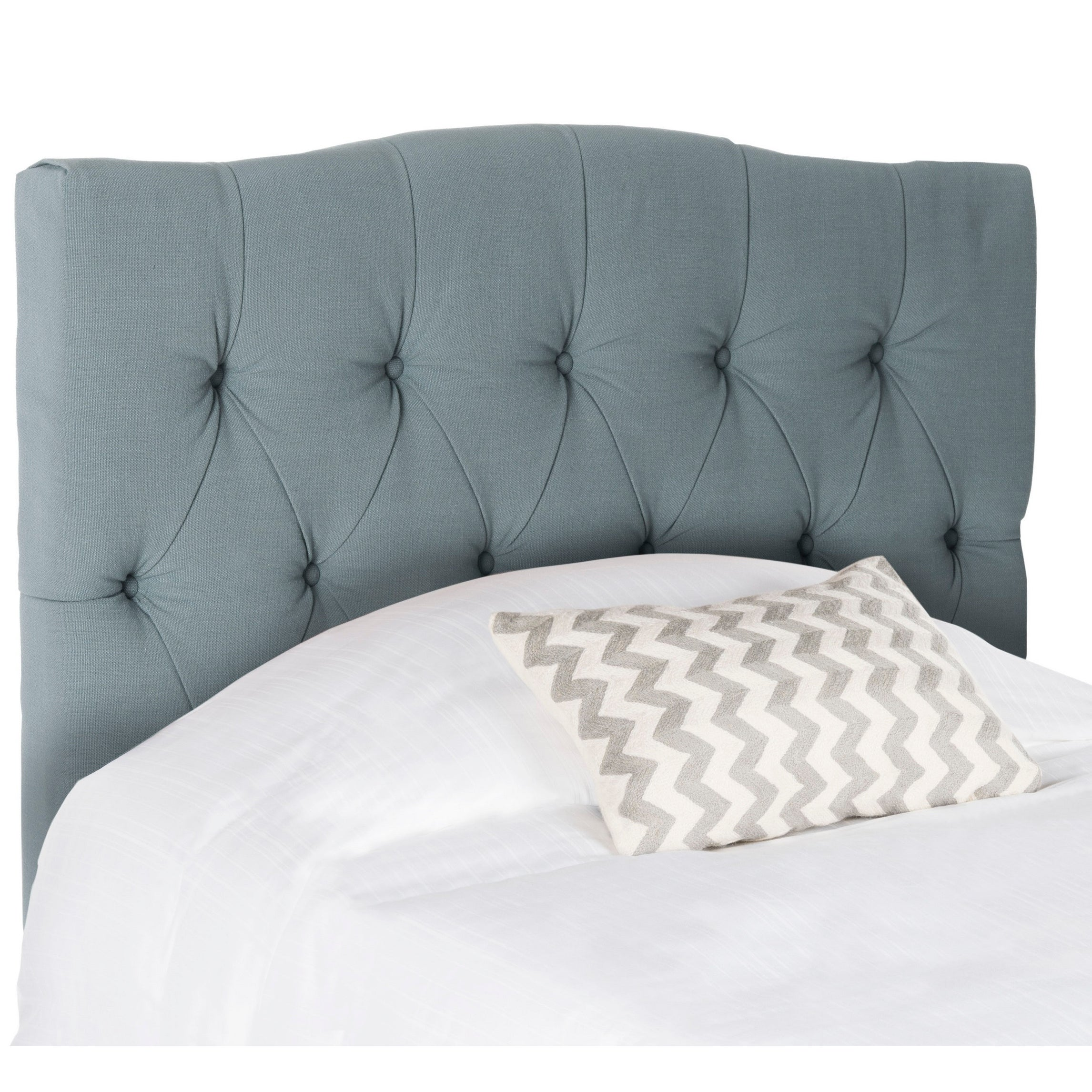 6106830b210c1 Details about Safavieh Axel Sky Blue Upholstered Tufted Headboard (Twin)