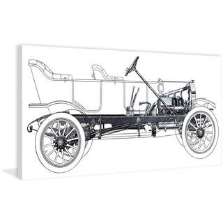 Marmont Hill - Vintage Race Car Blueprint 1 Painting Print on Canvas