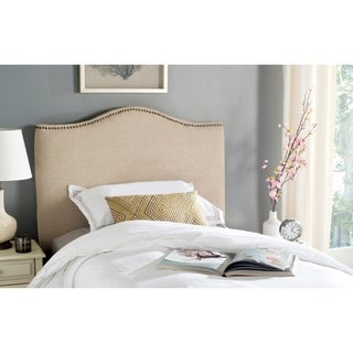 Safavieh Jeneve Hemp Linen Upholstered Headboard - Brass Nailhead (Twin)