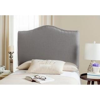 Safavieh Jeneve Arctic Grey Linen Upholstered Headboard - Silver Nailhead (Twin)