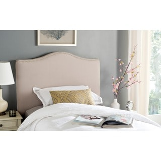 Safavieh Jeneve Taupe Linen Upholstered Headboard - Silver Nailhead (Twin)