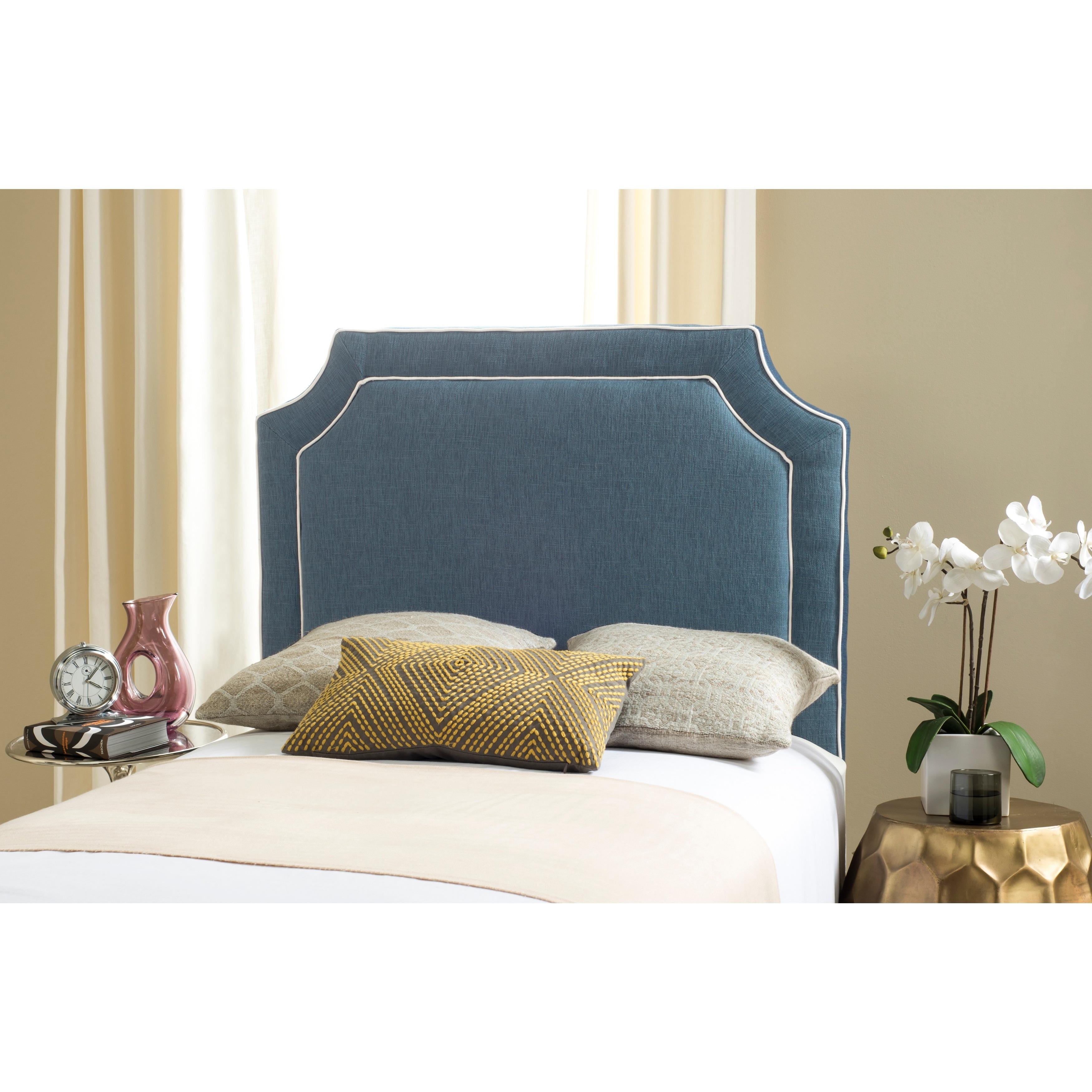 Safavieh Dane Denim Blue White Piping Upholstered Headboard Twin