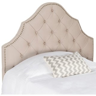 Safavieh Arebelle Taupe Linen Upholstered Tufted Headboard - Silver Nailhead (Twin)