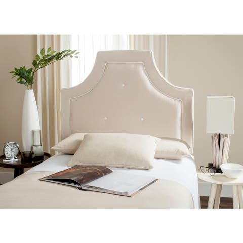 Safavieh Tallulah Beige/ White Piping Upholstered Arched Headboard (Twin)