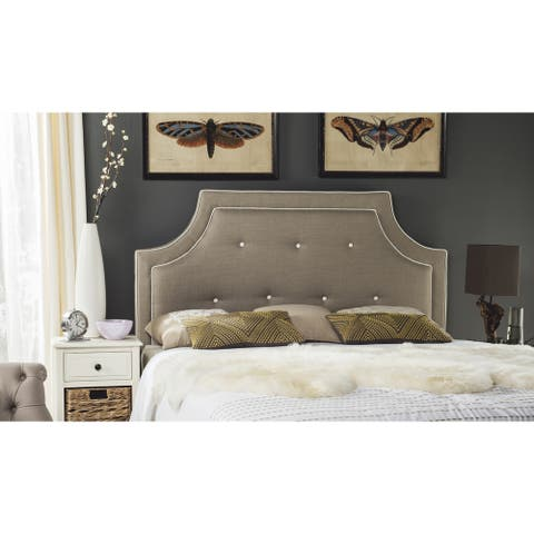 Safavieh Tallulah Smoke/ White Piping Upholstered Arched Headboard (King)